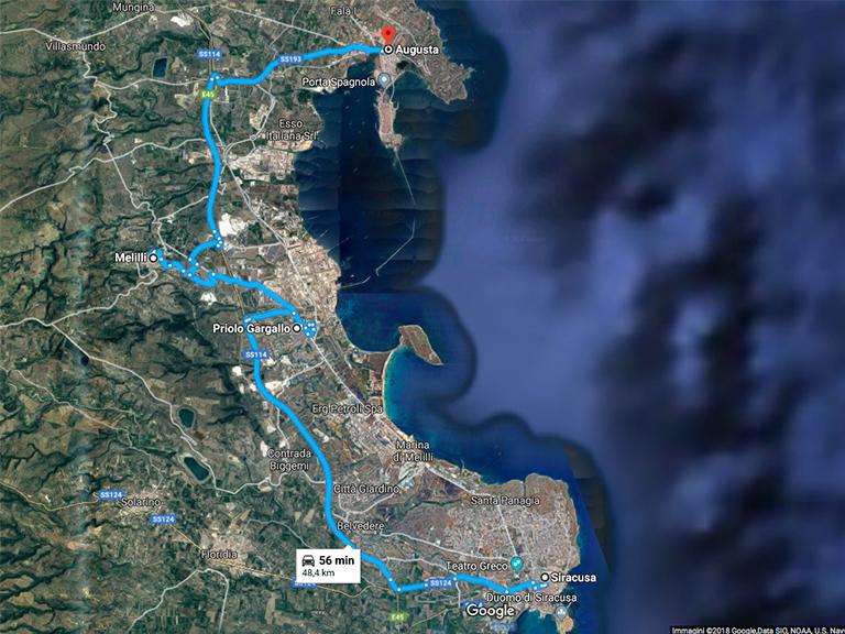 Siracusa-Priolo-Melilli-Augusta Google Map