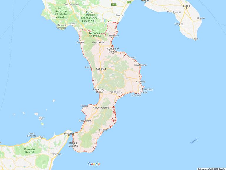 Calabria da Google Map