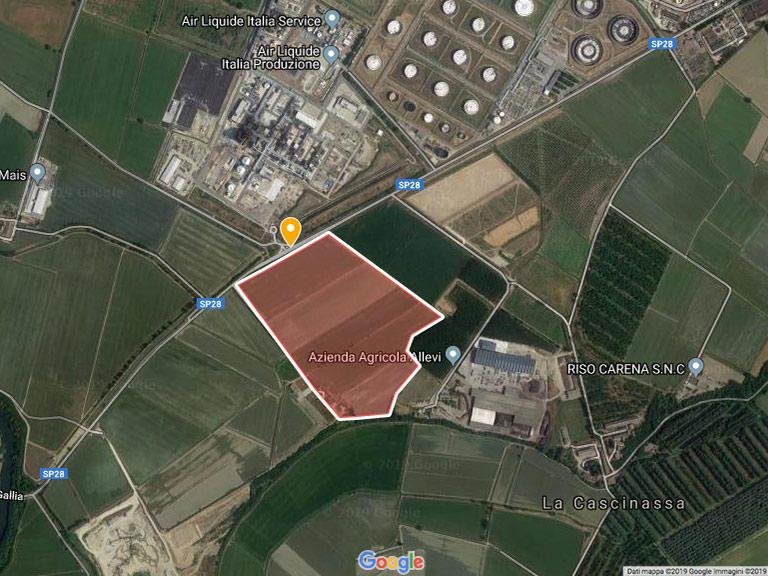 Perimetro della discarica di amianto di Ferrera Erbognone Google Maps