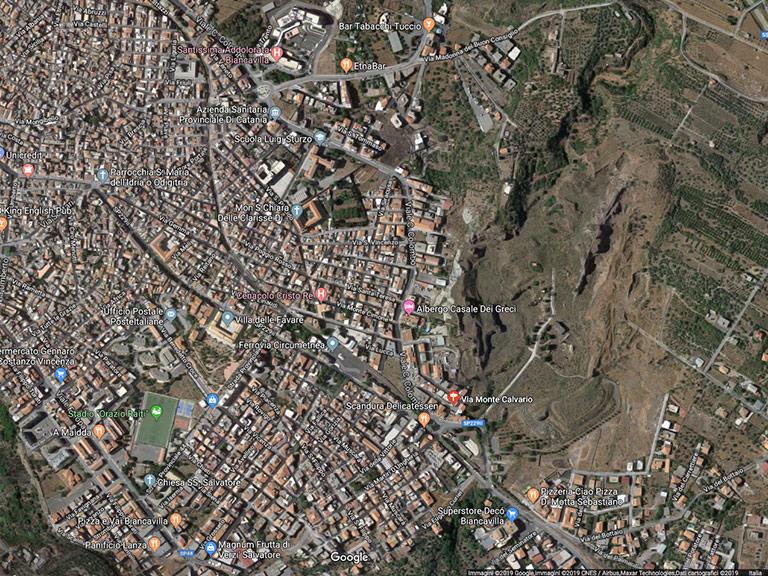 Biancavilla Fontana e il Monte Calvario Google Maps