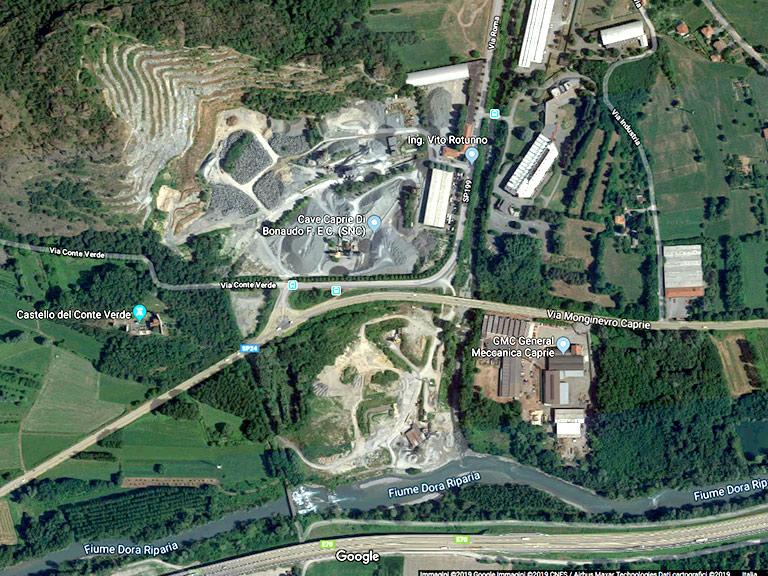 La cava di Caprie in area sottoposta a vincolo idrogeologico e paesaggistico– Google Maps