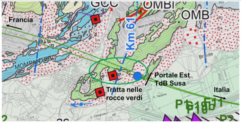 Tratta di cogiunzione tra Gneis di Charboneel (GCC) e Prasiniti e Scisti prasinitici (OBM) - PDV TELT